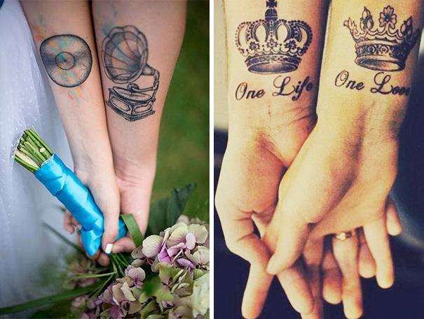 Парные тату вместо брачных колец